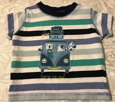 Baby Boys Pumpkin Patch Striped T-shirt Size 3 - 6 months Excellent Condition