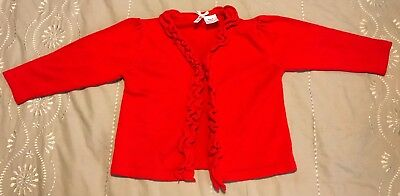 Baby Girls Milly Brand Cotton / Acryllic Red Knit Cardigan Top Size 0 Exc Cond