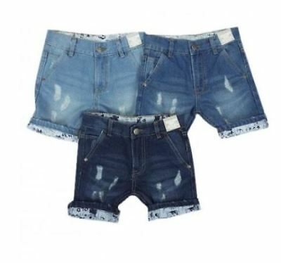 Ex Store Boys Denim Blue Distressed Adjustable Waist Summer Shorts Age 5 6 Years