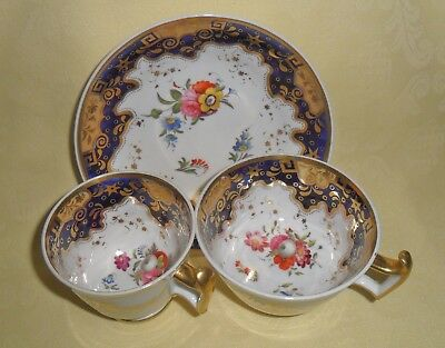 Stunning Antique Ridgways China Trio C1820 - Pattern Number 2/739 - Floral/gilt.