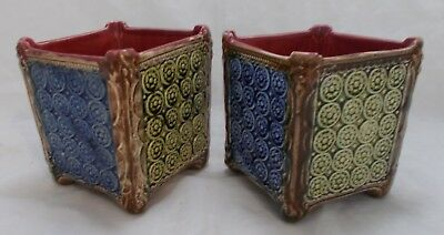 French / German vintage 2 x small planters - blue red green