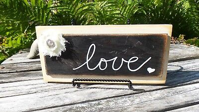 Vintage Shabby Cottage French Farmhouse Chic Antique WOODED love Sign