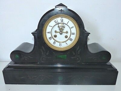 RARE Very Large Antique 19th Century Malachite Inlaid / Slate Mantel Clock