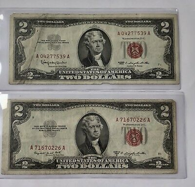 Lot Of (2) $2 DOLLAR 1963 1953B RED SEAL OLD Legal Tender United States Notes