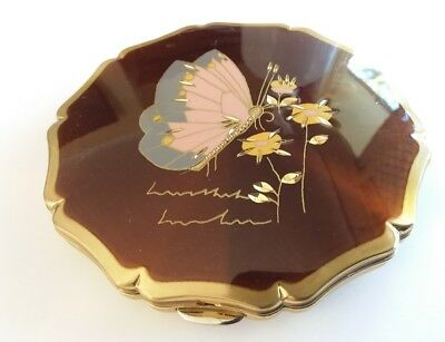 Vintage Stratton Large Brown Enamel  Pink Butterfly Fluted Edges