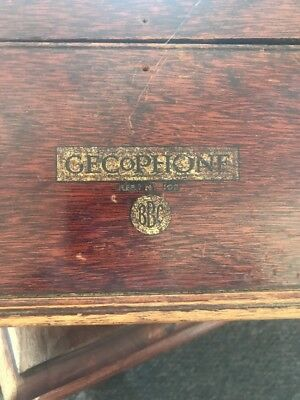OLD 1920's VINTAGE BBC GECOPHONE WIRELESS CRYSTAL SET RADIO HEADPHONES CASE