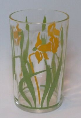 VINTAGE Kraft SWANKY SWIG Yellow DAFFODIL JUICE GLASS Mid Century