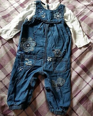 Baby Girl Dungarees 9-12 Months With Top Size 9-12 Months George