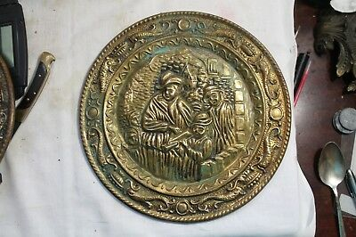 ANTIQUE Stove Pipe Flue Vent Cover COPPER MAN BLOWING HORN