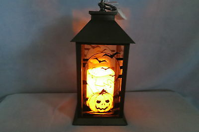 "Halloween Decor - LED Candle Light Lantern w Timer JOL Pumpkin Ghosts Moon 13"" T"