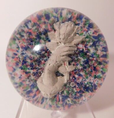 RARE ANTIQUE American SULPHIDE STATUE of a HAND HOLDING a FLOWER Paperweight