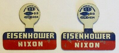 2X 1952 Eisenhower Nixon Campaign Fold Over Tabs Buttons Green Duck Free Ship!