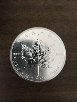 Canadian, Kanada, 5 Dollar 1990, Maple leaf, 1 Unze Silber, 9999