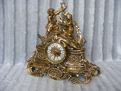 Vintage Antique Rococo French Italian Style Solid Brass Case Quartz Mantel Clock