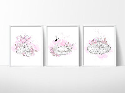 Swan Lake Nursery Print, Kids Wall Decor, Ballet  A5,A4 or A3 Size Prints