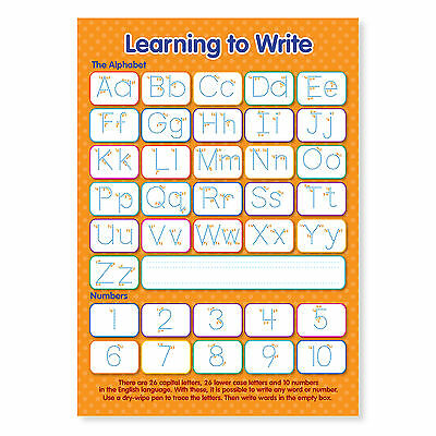 A4 Laminated NEW Learning to Write Letters and Numbers Educational Poster