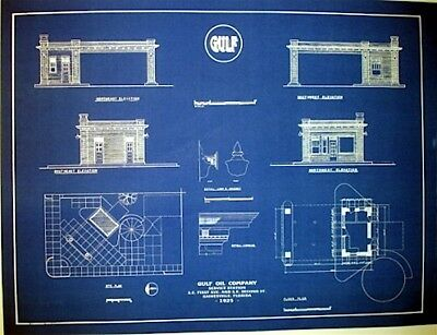 Gulf oil company gas station florida 1925 blueprint of station plan gulf oil company gas station florida 1925 blueprint of station plan 18x24 257 malvernweather Images