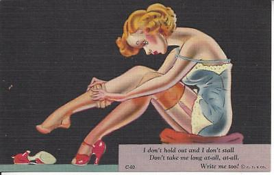 ca. 1930-1945 CURT TEICH & CO. I don't hold out..... RISQUE Postcard