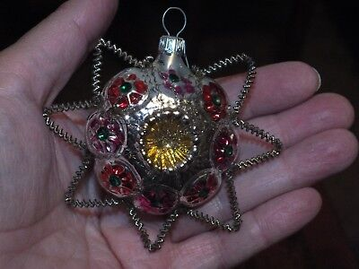 Antique Blown Glass  And Wire Indent Star Christmas Ornament - Germany/czech