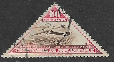 MOZAMBIQUE COMPANY POSTAL ISSUE - 1935 USED AIR MAIL - PLANE OVER BEIRA - 60 Mc