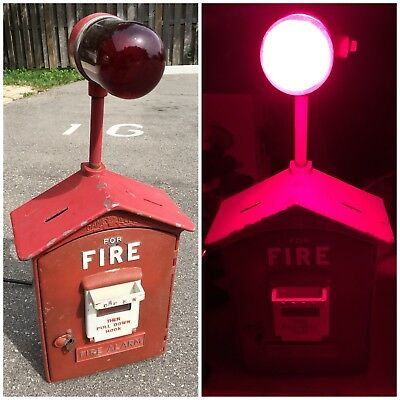 Antique Cast Iron Gamewell Fire Box Alarm Working Light Game Well Vintage