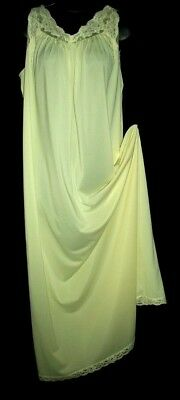 Shadowline Vtg Sunny Yellow Chiffon Backed Lace Trim Nightgown Sz Med