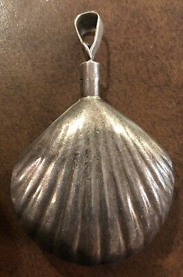 Antique Vintage Deco Sterling Silver Mexican Taxco Shell Perfume Bottle Pendant