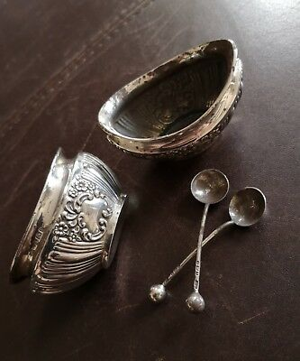 A PAIR OF ANTIQUE SOLID SILVER SALTS Joseph Gloster~B'ham~1904