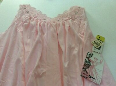 Vintage Shadowline Sleeveless Pink Nightgown Size Medium NWT 100% Nylon B37051