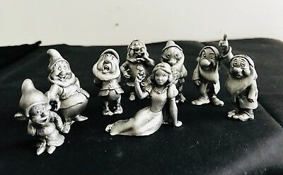 Set of Pewter Silver Disney Snow White & the Seven Dwarfs Dopey Doc Figurines