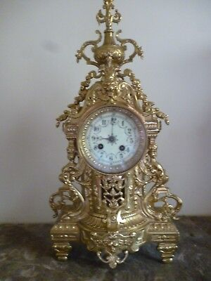 Very Large Spectacular Antique French Ormolu Bell Striking 8 Day Mantel Clock.