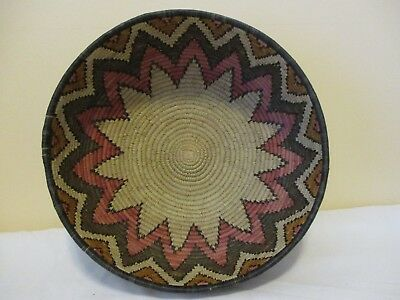 """South Western Native Tribal Hopi? Decortive Hand Woven Basket 14"""" in diameter"""