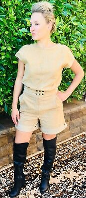 Rare Vintage Chamois Suede Safari French Tunic & Short Outfit Summer Passion !