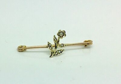 9ct Gold Antique pin brooch set with Seed Pearls