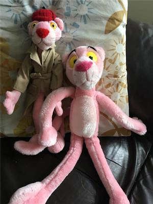 "2x Official Pink Panther Soft Toys Largest approx 16"" detective Sherlock gu"