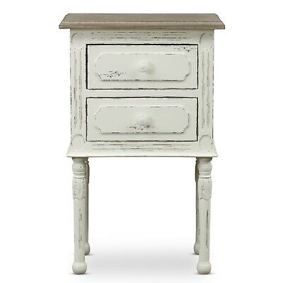 Rustic Farmhouse White Nightstand, French Accent Side Table by Anjou Traditional