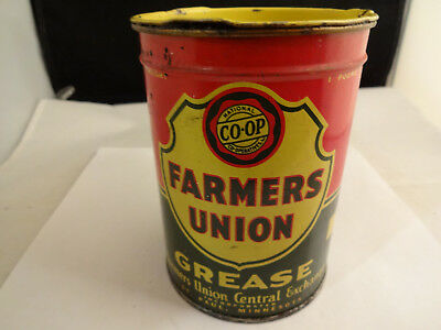 Vintage 1950s Farmers Union Co-op 1 Pound Size Grease Tin Can St Paul Minnesota