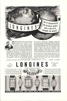 Longine in 77 Countries No Other Name on Watch Means So Much Vintage Ad