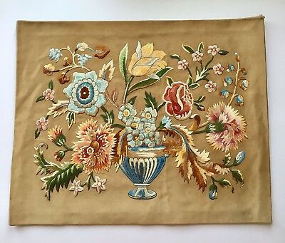 Beautiful Antique Embroidered Picture/panel, Cushion Cover. Urn,assorted Flowers