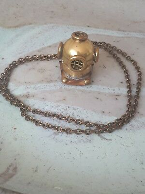 Very unusual Vintage Antique Diving Helmet Brass & Copper Necklace Handcrafted