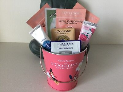 L'OCCITANE GIFT SET - PAIL, SOAP, 2 x HAND CREAMS AND 6 SACHETS