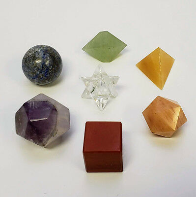 7 Chakra Platonic Solids Sacred Geometry Set with Carry Bag