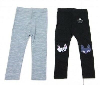 Ex Store Baby Girls 2 Pack Grey Fox Animal Leggings Set Age 9 12 18 24 Months