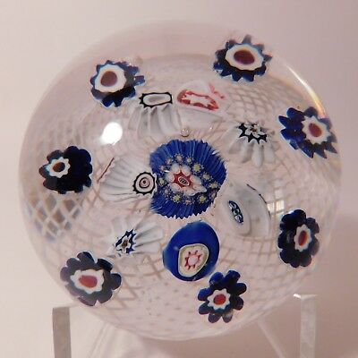 GORGEOUS Antique NEGC SPACED PATTERN MILLEFIORI & Double Latticino Paperweight