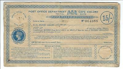South Africa - CAPE COLONY 15sh Postal Note (Postal Order) 1890s