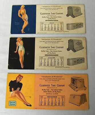 Earl Moran Blotters Lot 3 Pin Up Calendars Clearwater Tank IL July Aug Dec 1939
