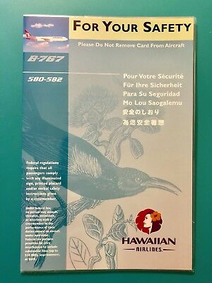 Hawaiian Airlines Safety Card -- 767 Plane #580