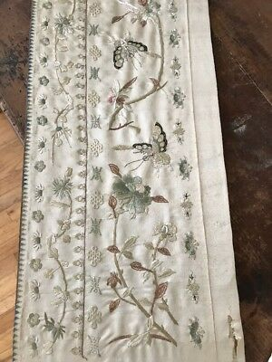 Antique chinese embroidered silk Textile forbidden stitch Moth Mum Metal Threads