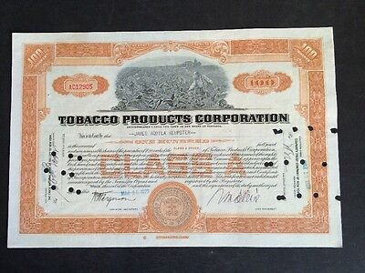 Tobacco Products Corporation 1929 100shares