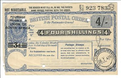 British Postal Order KGV 4sh overprinted UNION OF SOUTH AFRICA 1939